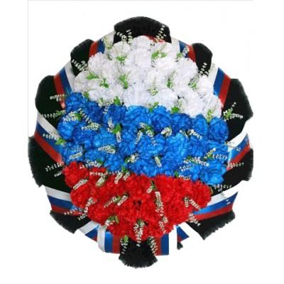Венок на похороны из искусственных цветов Триколор №7507