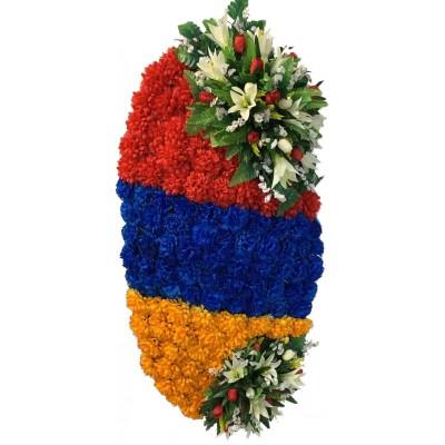 Венок ритуальный (цвета Армянского флага) из искусственных цветов №5010