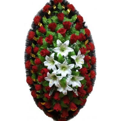 Венок ритуальный из искусственных цветов №4157