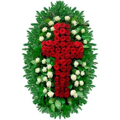 Венок ритуальный из искусственных цветов №4261