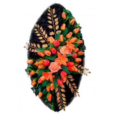 Венок ритуальный из искусственных цветов №4168