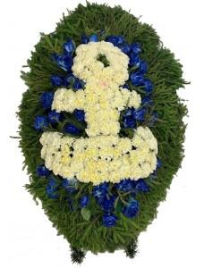 Венок траурный из живых цветов с якорем №3034