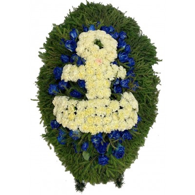 Венок ритуальный из живых цветов с якорем №3134