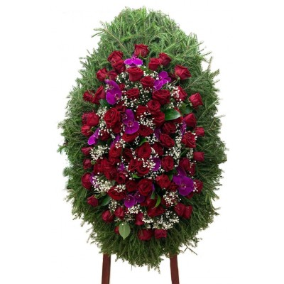Венок траурный из живых цветов №3046