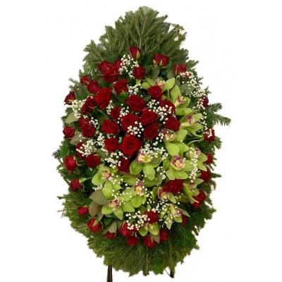 Венок ритуальный из живых цветов №3147