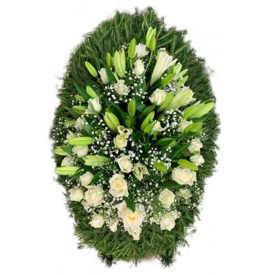 Венок ритуальный из живых цветов №3148