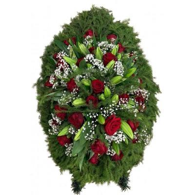 Венок ритуальный из живых цветов №3349
