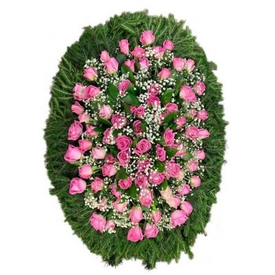 Венок траурный из живых цветов №3050