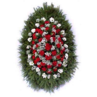 Венок траурный из живых цветов №3051