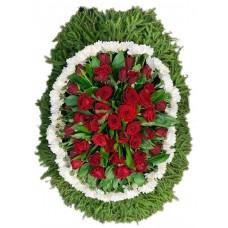 Венок траурный из живых цветов №3054