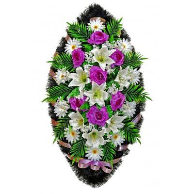 Венок ритуальный из искусственных цветов №4163