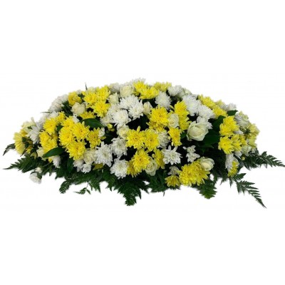 Композиция на крышку гроба из живых цветов (флоретка) №7524