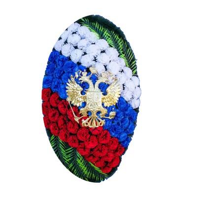 Венок ритуальный из искусственных цветов  с искусственной хвоей №5004