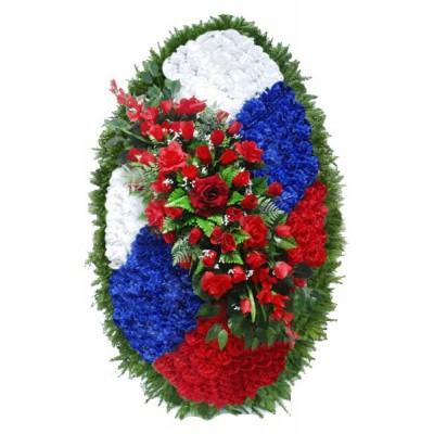 Венок на возложение из искусственных цветов  с искусственной хвоей №5005