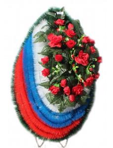 Венок траурный из искусственных цветов  с искусственной хвоей №5206