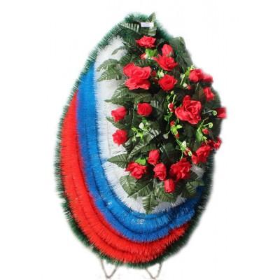 Венок из искусственных цветов  с искусственной хвоей №5006