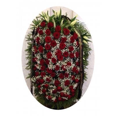 Венок на похороны из живых цветов №3217