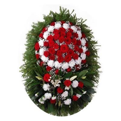 Венок ритуальный из живых цветов №3218