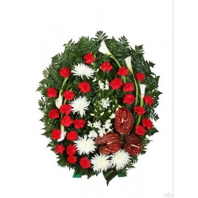 Венок ритуальный из живых цветов №3021