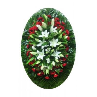 Венок ритуальный из живых цветов №3003