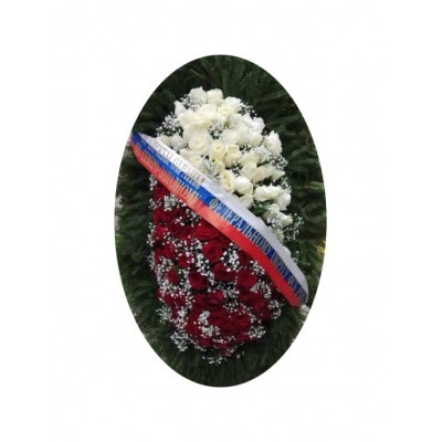 Венок траурный из живых цветов №3023