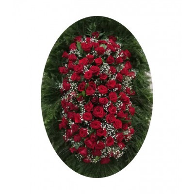 Венок ритуальный из живых цветов №3209