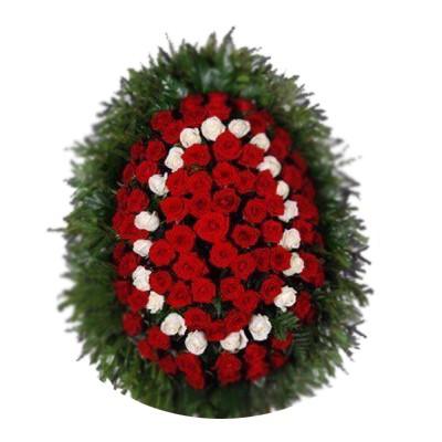Венок на похороны из живых цветов №3002